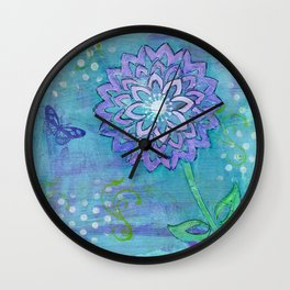 Purple Flower by Deborah Halcomb Wall Clock