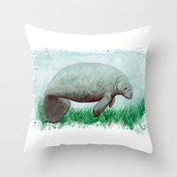 manatee Throw Pillows featuring The Manatee ~ Watercolor by Amber Marine by Amber Marine