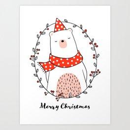 Cute bear in wreath for Christmas day Art Print