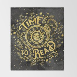 Time to Read - Gold Throw Blanket