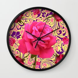 PINK ROSE FLOWERS ON  PINK & YELLOW FILIGREE Wall Clock