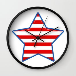 Patriotic Star Blue Border Red and White Stripes Wall Clock