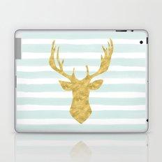 Gold Deer on Mint Watercolor Stripes Laptop & iPad Skin