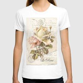 """Le Reve"" Decoupage Roses T-shirt"