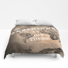 Adventure is out there. Stars world map. Sepia Comforters