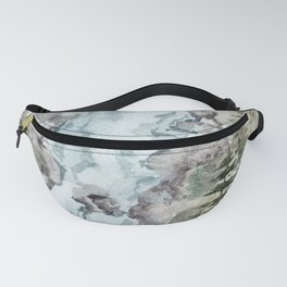 Misty Waterfall with Pines Fanny Pack