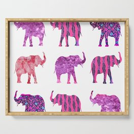 Pretty in Pink Elephant Print Serving Tray