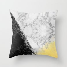 Marble with Black & Gold - gold foil, gold, marble, black and white, trendy, luxe, gold phone Throw Pillow