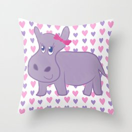 purple happy hippo Throw Pillow