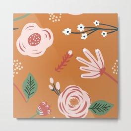Orange Florals Metal Print