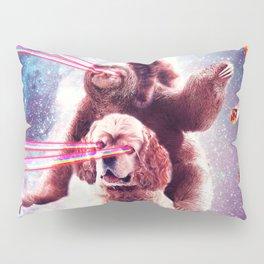 Laser Eyes Space Cat Riding Sloth, Dog - Rainbow Pillow Sham
