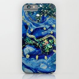 Icy Blue Abstract Acrylic Painting iPhone Case