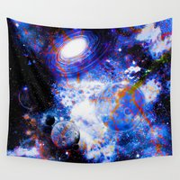 decal Wall Tapestries featuring Galaxy by haroulita