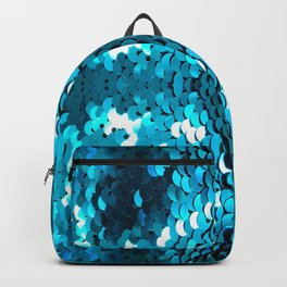 girly glam turquoise blue sequins mermaid scales Backpack