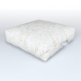 Elegant simple modern faux gold white floral Outdoor Floor Cushion
