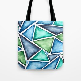 Large scale fragmentation. Watercolor triangles. Tote Bag