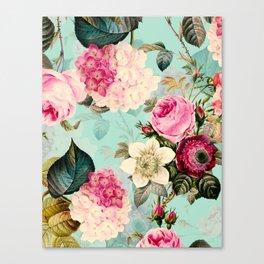 Vintage & Shabby Chic - Summer Teal Roses Flower Garden Canvas Print