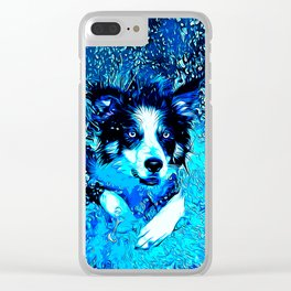 border collie jumping in water vector art crisp winter Clear iPhone Case