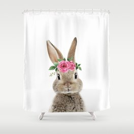 Bunny with Flower Crown Shower Curtain