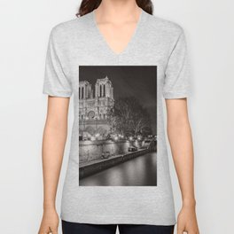 Notre Dame Cathedral, Paris, France on the River Seine black and white photograph / art photography Unisex V-Neck