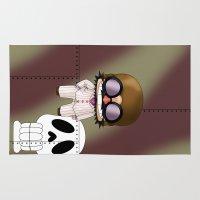 gurren lagann Area & Throw Rugs featuring Chibi Mamma Aiuto by artwaste