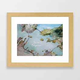 SF, San Francisco, Oakland, Bay Area, California Watercolor Map Art Framed Art Print