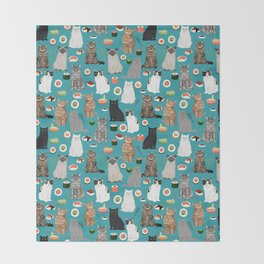 Cat Sushi pattern by pet friendly cute cat gifts for pet lovers foodies kitchen Throw Blanket