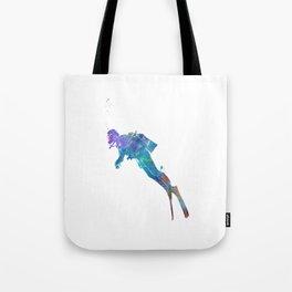 Man scuba diver 02 in watercolor Tote Bag