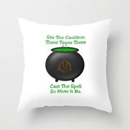 Stir The Cauldron Triquetra Green Throw Pillow