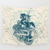 mythology Wall Tapestries featuring Perseus by Pato