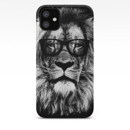 Hipster Lion Black iPhone Case