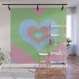 Radiating Hearts Pink, Blue, and Green Wall Mural