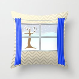 Window view in winter Throw Pillow