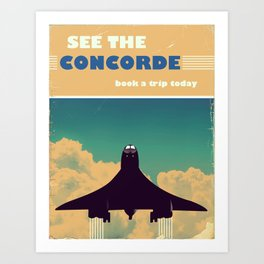 See the concorde vintage poster. Art Print