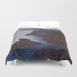 1886-Claude Monet-Rocks at Belle-lle, Port-Domois-65 x 81 Duvet Cover