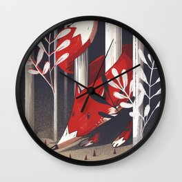 Curious fox Wall Clock