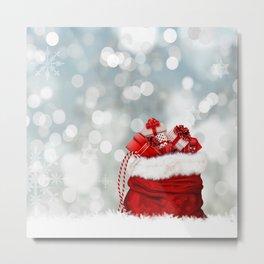 Red Christmas Holiday Santa Claus Presents Metal Print