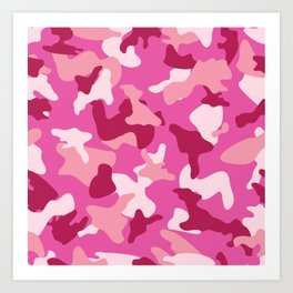 Pink camo camouflage army pattern Art Print
