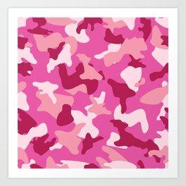 Pink camo camouflage army pattern Art Print