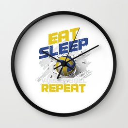 Volleyball Team Ball Game Spiking Action Sports Eat Sleep Volleyball Repeat Gift Wall Clock