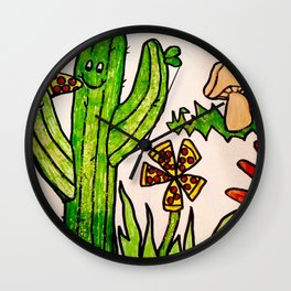 Cactus in a pizza paradise Wall Clock
