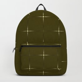 Glowing large yellow and small gold stars on a dark background. Backpack