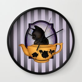 Teapot Cat Wall Clock