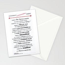 An Abundance of An Abundance of Katherines Anagrams -- John Green Stationery Cards