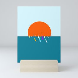 Minimal regatta in the sun Mini Art Print