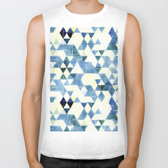 Abstract Blue Triangles, Watercolor Pattern Biker Tank