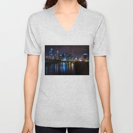 Philly Skyline Glowing Unisex V-Neck