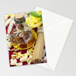 Composition of pasta and olive oil Stationery Cards