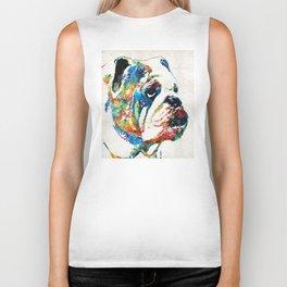 Bulldog Pop Art - How Bout A Kiss - By Sharon Cummings Biker Tank