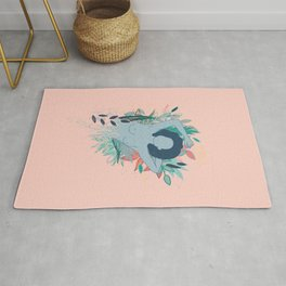 Blue nude laying down on flower field Rug